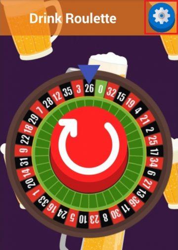 หน้าแรกของแอพ Drink Roulette